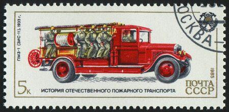 RUSSIA - CIRCA 1985: stamp printed by Russia, shows retro firetruck, circa 1985. photo