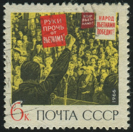 stamp printed by Russia, shows Protest rally, circa 1966. photo