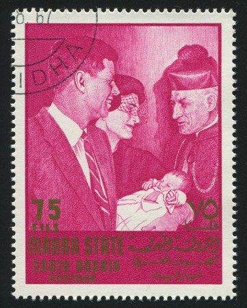 john fitzgerald kennedy: SOUTH ARABIA - CIRCA 1967: stamp printed by South Arabia, shows John Fitzgerald Kennedy was the 35th President of the United States, circa 1967.