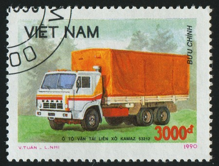 VIET NAM - CIRCA 1990: stamp printed by Viet Nam, shows truck, circa 1990 photo