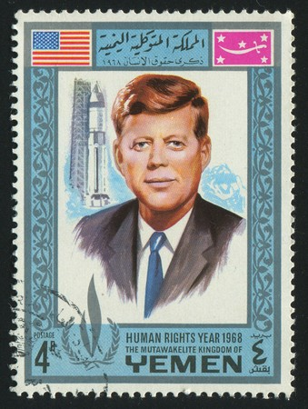 john fitzgerald kennedy: YEMEN - CIRCA 1968: stamp printed by Yemen, shows John Fitzgerald Kennedy was the 35th President of the United States, circa 1968.
