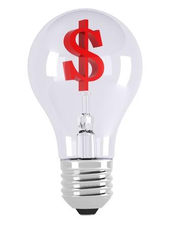 signo pesos: Bombilla de luz. Ilustraci�n 3D sobre fondos blancos. Signo de d�lar rojo.  Foto de archivo