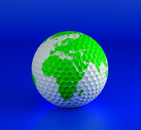 Golf ball isolated on blue. 3d illustration. High resolution image. Stock Illustration - 7302224