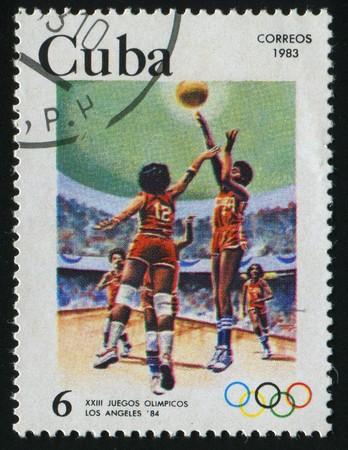 CUBA - CIRCA 1983: 1984 Summer Olympics, Los Angeles. Basketball, circa 1983.