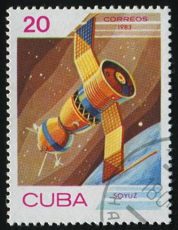 CUBA - CIRCA 1983: Cosmonauts Day. Soyuz, circa 1983. photo
