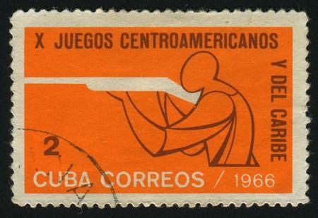CUBA - CIRCA 1966: 10th Central American and Caribbean games. Rifle shooting, circa 1966. Stock Photo - 7307432
