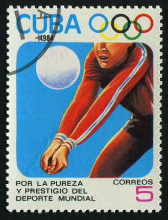 CUBA - CIRCA 1984: 1984 Summer Olympics, Los Angeles. Volleyball, circa 1984.