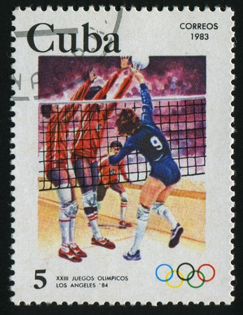 CUBA - CIRCA 1983: 1984 Summer Olympics, Los Angeles. Volleyball, circa 1983.