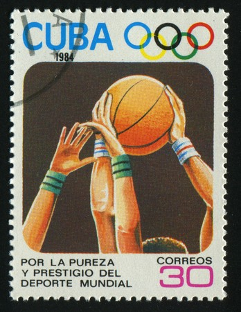 CUBA - CIRCA 1984: 1984 Summer Olympics, Los Angeles. basketball, circa 1984.