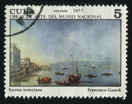 postoffice: CUBA - CIRCA 1977: Venetian Landscape, by Francesco Guardi, circa 1977.