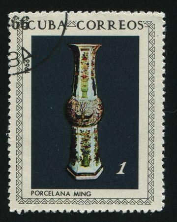 ming: CUBA - CIRCA 1966:  Vase for flower. Ming vase, circa 1966.