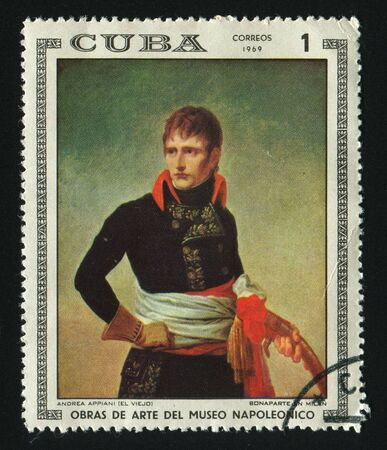 CUBA - CIRCA 1969: A  stamp printed by Cuba,  shows Napoleon in Milan, by Andrea Appiani, circa 1969. Stock Photo - 7307865