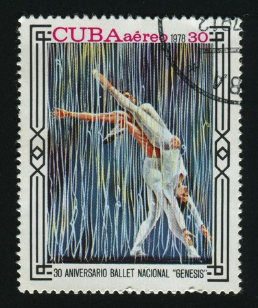 CUBA - CIRCA 1978: A  stamp printed by Cuba,  shows Natl. Ballet, 30th Anniv, circa 1978.