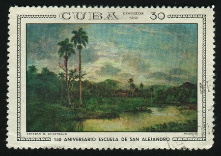 postoffice: CUBA - CIRCA 1968: A  stamp printed by Cuba,  shows Landscape, by Esteban B. Chartrand, circa 1968.