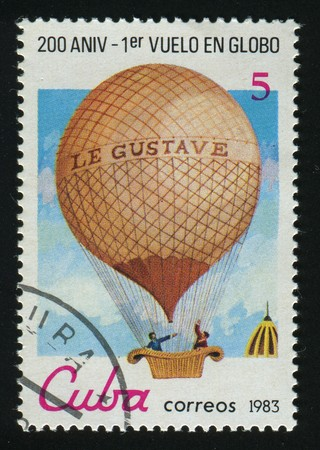 weightless: CUBA - CIRCA 1983: A  stamp printed by Cuba,  shows balloon, circa 1983. Stock Photo