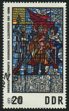 sachsenhausen: Germania - CIRCA 1968: timbro stampato dalla Germania, mostra la liberazione, Francoforte-Sachsenhausen Memorial Museum, circa 1968.