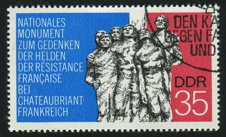GERMANY - CIRCA 1974: stamp printed by Germany, shows Resistance Fighters monument near Chateaubriant, France, circa 1974.