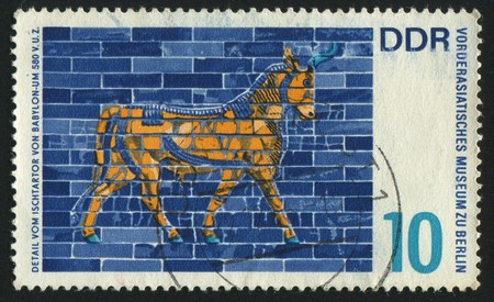 ishtar gate of babylon: GERMANY - CIRCA 1966: stamp printed by Germany, shows Detail from Ishtar Gate, Babylon, circa 1966.