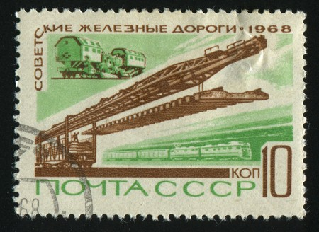 RUSSIA - CIRCA 1968: stamp printed by Russia, shows Soviet railroad transportation, circa 1968. photo