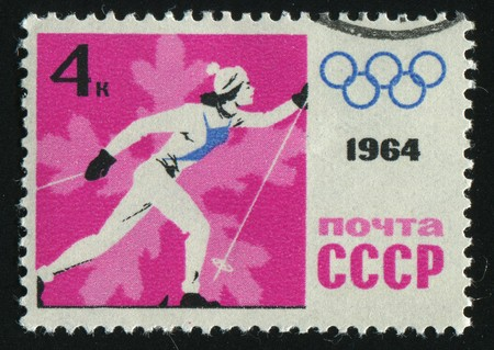 RUSSIA - CIRCA 1964: stamp printed by Russia, shows Women�s cross country skiing, circa 1964.