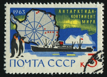 RUSSIA - CIRCA 1963: stamp printed by Russia, shows ship and penguin,  circa 1963. photo
