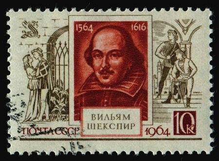 RUSSIA - CIRCA 1964: stamp printed by Russia, shows portrait Shakespeare, circa 1964. Stock Photo - 7307587