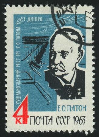 RUSSIA - CIRCA 1963: stamp printed by Russia, shows portrait E. O. Paton, circa 1963. Editorial