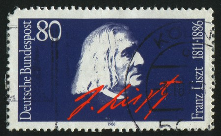 GERMANY  - CIRCA 1986: stamp printed by Germany, shows portrait Franz Liszt,  circa 1986.
