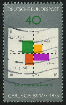 exact science: GERMANY  - CIRCA 1977: stamp printed by Germany, shows Gauss plane of complex numbers,  circa 1977.