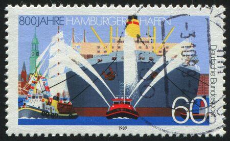 GERMANY  - CIRCA 1989: stamp printed by Germany, shows Hamburg Harbor, circa 1989. photo