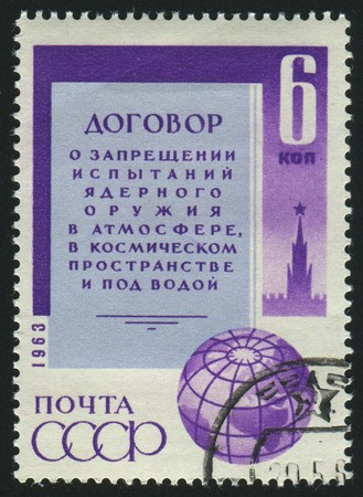 proclamation: RUSSIA - CIRCA 1963: stamp printed by Russia, shows proclamation and globe, circa 1963.