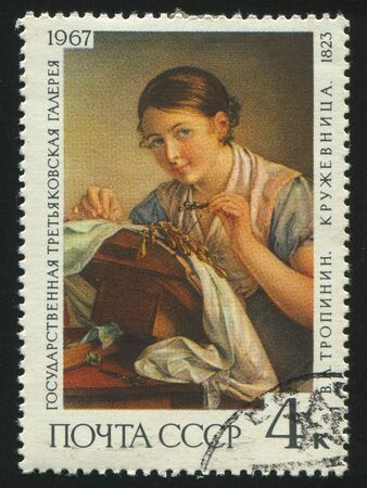 RUSSIA - CIRCA 1967: stamp printed by Russia, shows Lacemaker, by V. A. Tropinin,  circa 1967. photo