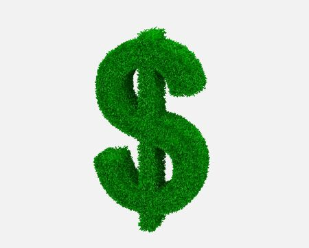 High resolution grass symbol isolated dollar on white background. Stock Photo - 7471028