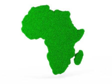 bionomics: Symbol 3d. Global environmental problems. Grass map of Africa. Stock Photo