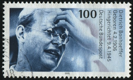 theologian: GERMANY- CIRCA 1995: stamp printed by Germany, shows Dietrich Bonhoeffer, protestant theologian, circa 1995.