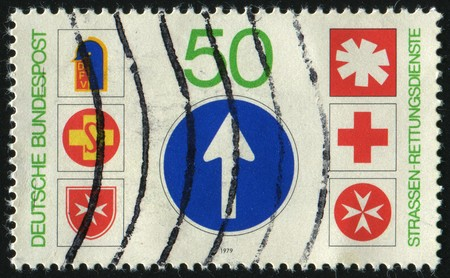 GERMANY- CIRCA 1979: stamp printed by Germany, shows Emblems of Road Rescue Services, circa 1979.