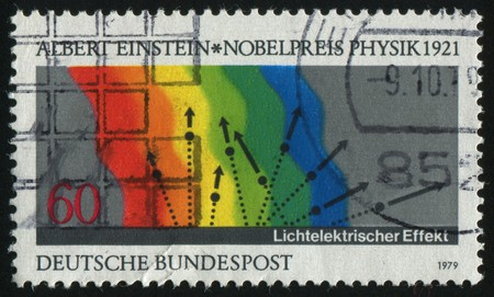 photoelectric: GERMANY- CIRCA 1979: stamp printed by Germany, shows Diagram of Einstein�s Photoelectric Effect, circa 1979. Stock Photo
