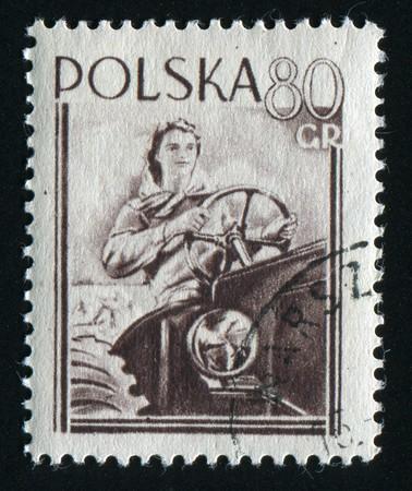 POLAND - CIRCA 1955: Poznan Town Hall and Fair Emblem, circa 1955.