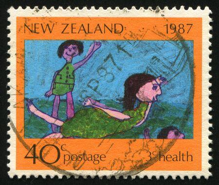circa: NEW ZEALAND - CIRCA 1987: Children�s Drawings, circa 1987.