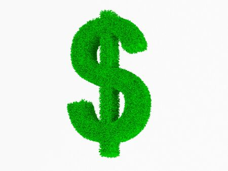 High resolution grass symbol isolated dollar on white background. photo