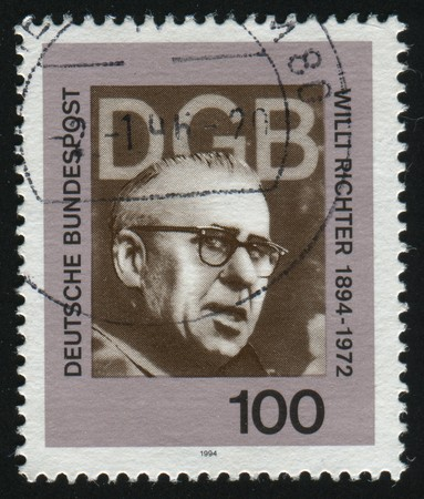 richter: GERMANY- CIRCA 1994: stamp printed by Germany, shows Willi Richter Politician Labor Leader, circa 1994. Editorial