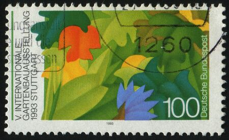 horticultural: GERMANY- CIRCA 1993: stamp printed by Germany, shows Horticultural Show Stuttgart, circa 1993. Stock Photo