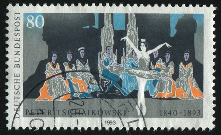 GERMANY- CIRCA 1993: stamp printed by Germany, shows ballet, Peter I. Tchaikovsky Composer, circa 1993. photo