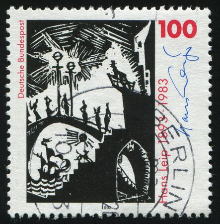 poet: GERMANY- CIRCA 1993: stamp printed by Germany, shows Hans Leip poet and painter, circa 1993.