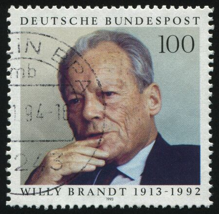 brandt: GERMANY- CIRCA 1993: stamp printed by Germany, shows Willy Brandt Statesman, circa 1993.