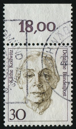 graphic artist: GERMANY- CIRCA 1986: stamp printed by Germany, shows Kathe Kollwitz, painter graphic artist, circa 1986.