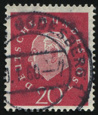 theodor: GERMANY- CIRCA 1958: stamp printed by Germany, shows Theodor Heuss, circa 1958. Editorial
