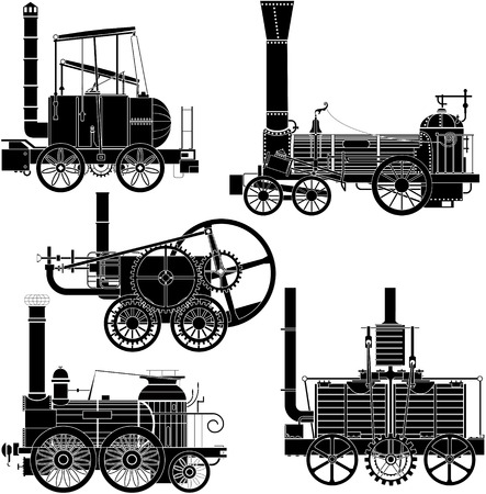 railway history: locomotives. This image is a vector illustration and can be scaled to any size without loss of resolution. Illustration