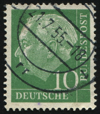 theodor: GERMANY- CIRCA 1954: stamp printed by Germany, shows Theodor Heuss, circa 1954.
