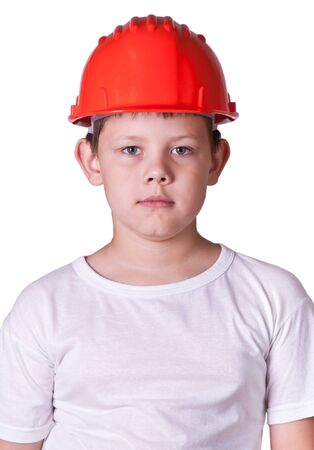 Portrait of a boy in a red protective helmet Stock Photo - 7695202